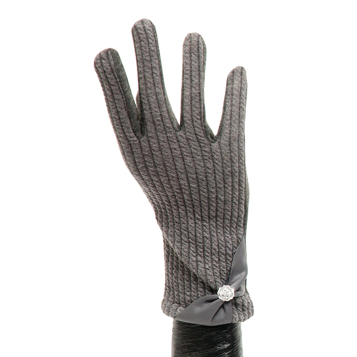 Grey Ribbed Glove with Bow X7936