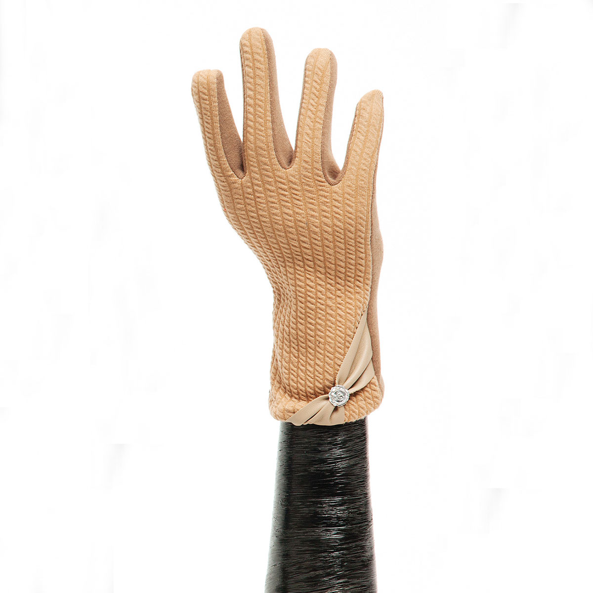 Tan Ribbed Glove with Bow X7937