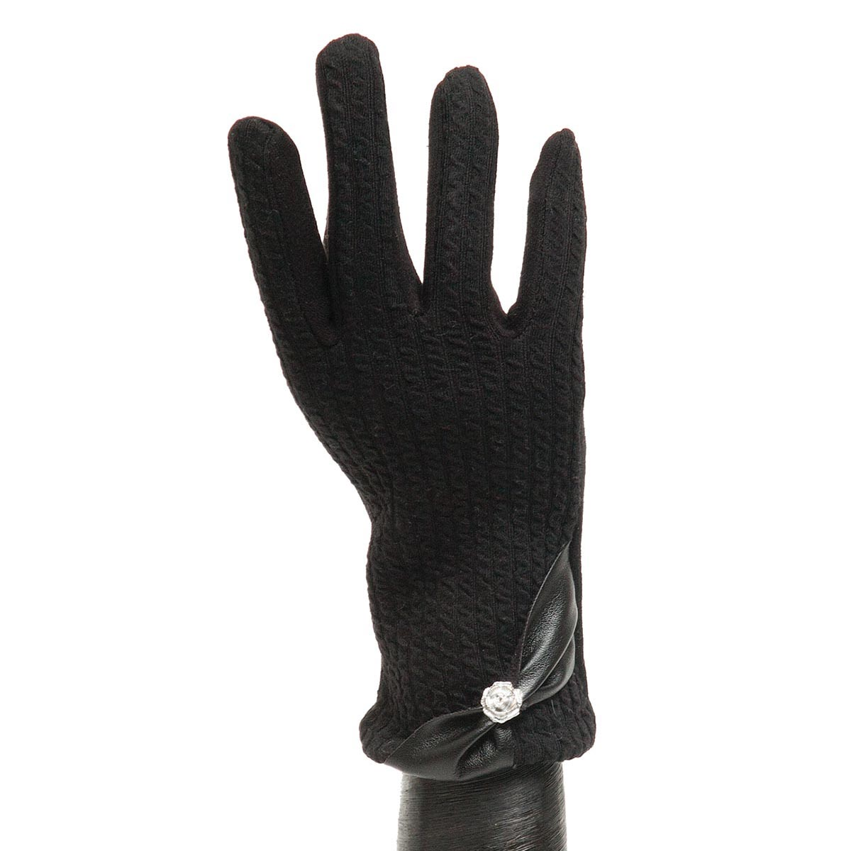 Black Ribbed Glove with Bow X7938