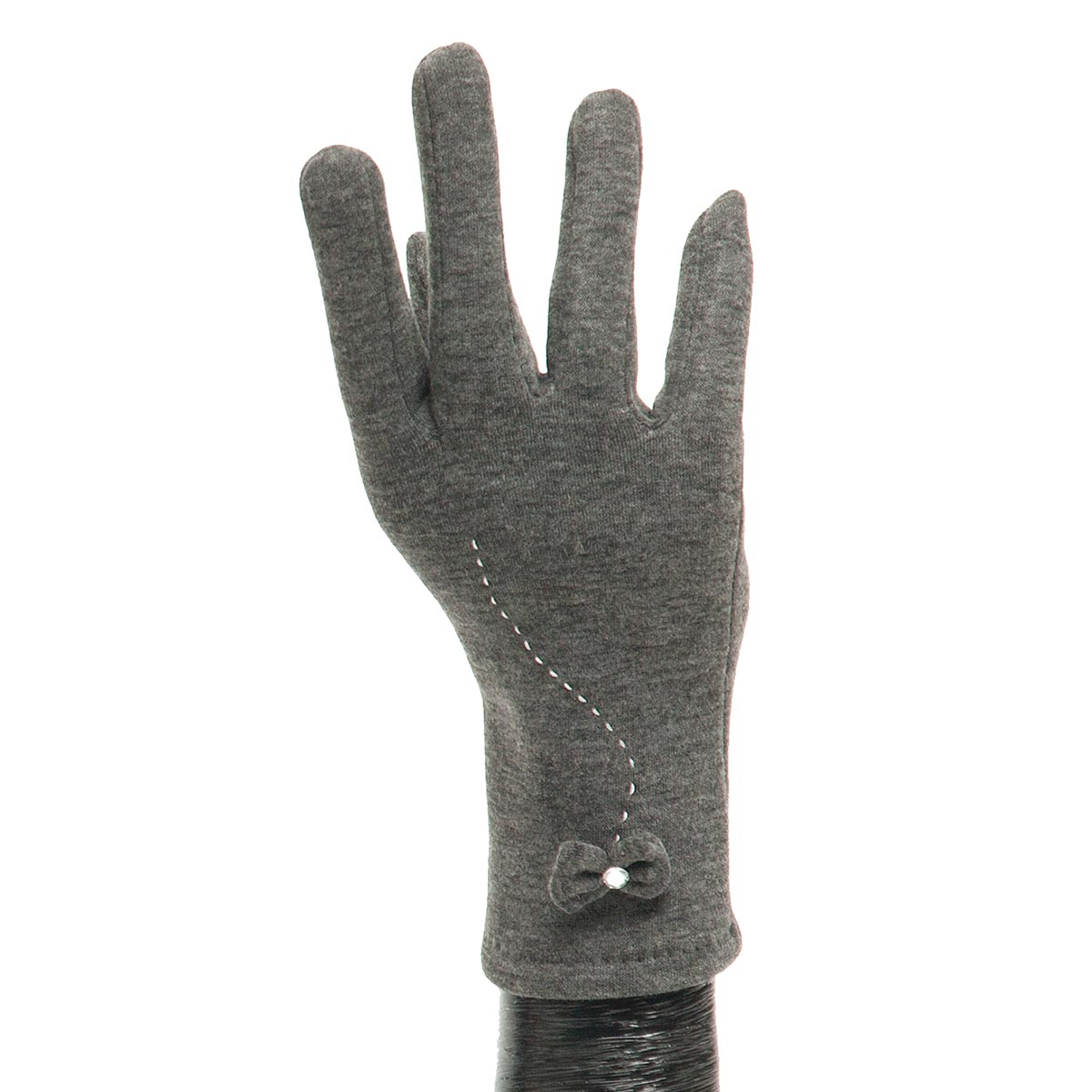 Grey Glove with Bow and Stitch Detail X7940