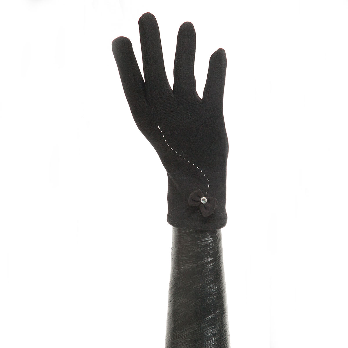 Black Glove with Bow and Stitch Detail X7941
