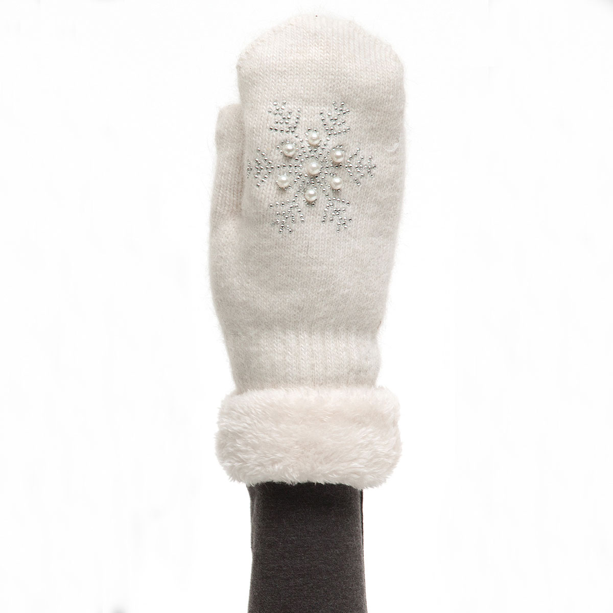 Cream Mitten with Pearl Snowflake X7944