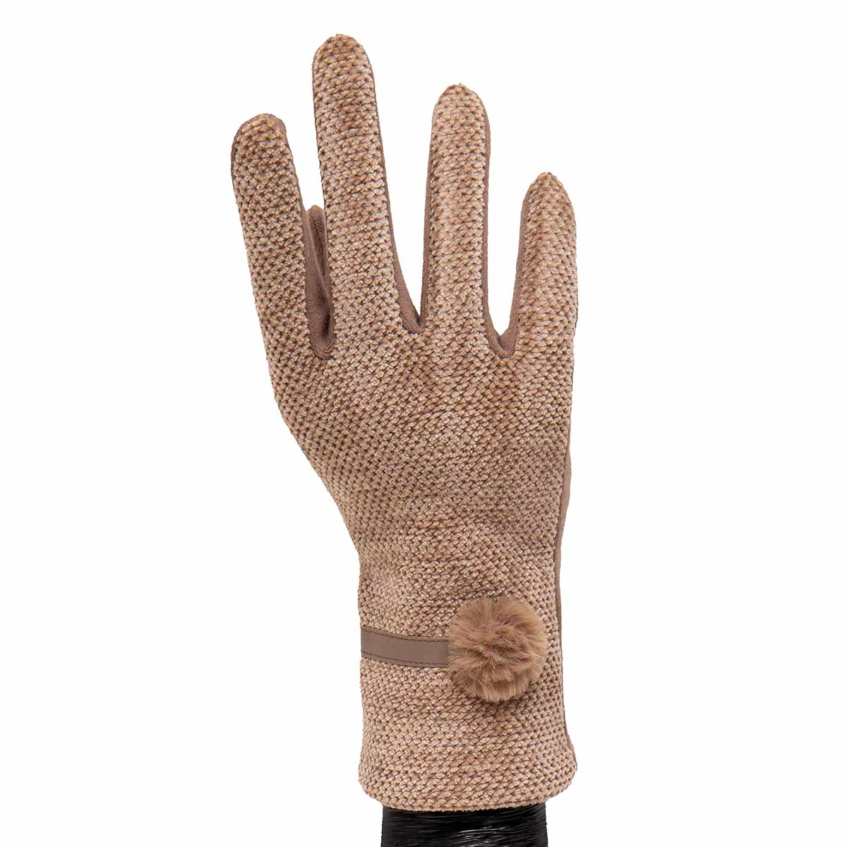Tan Velour Gloves with Fur Tuft