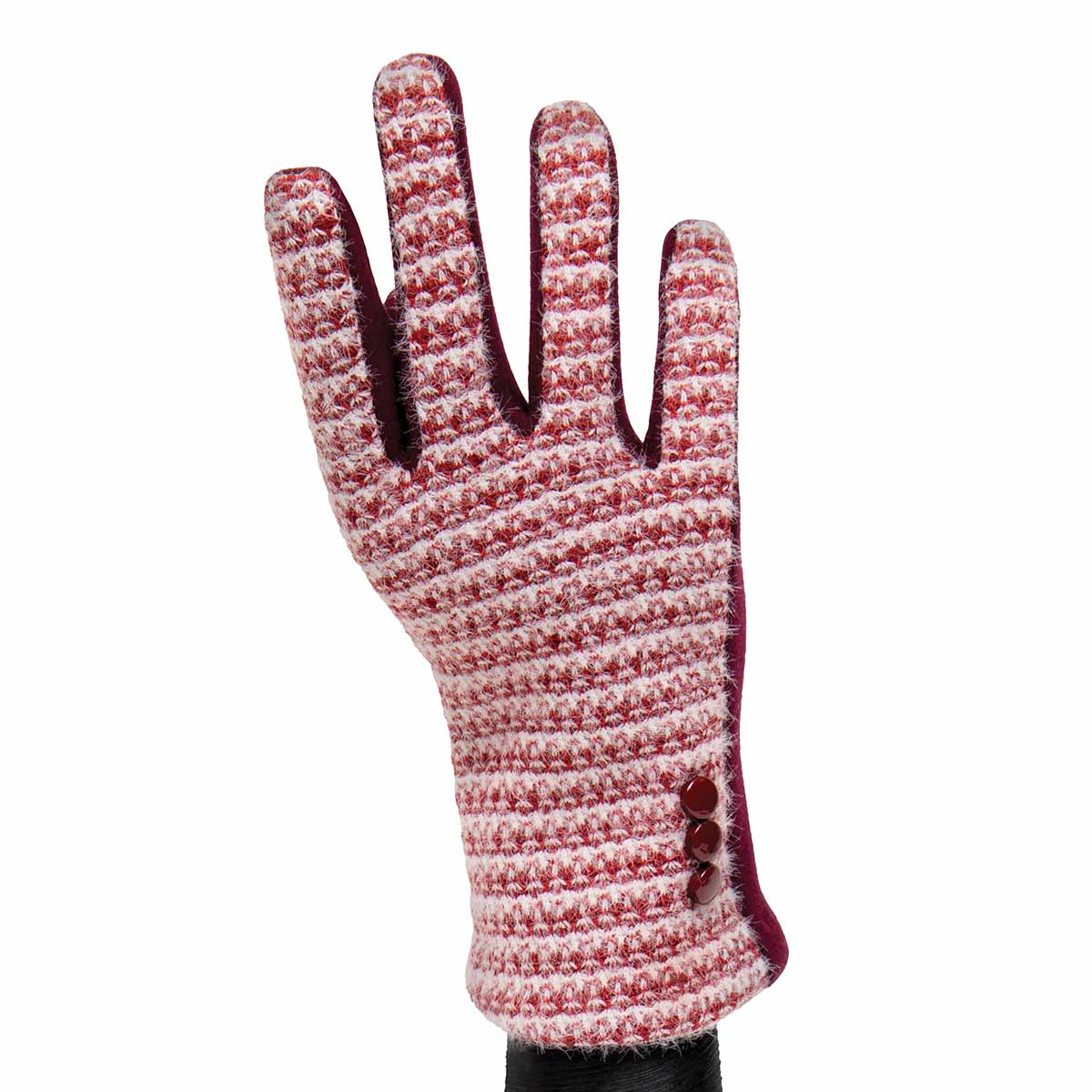 Burgundy Knit Gloves with Buttons