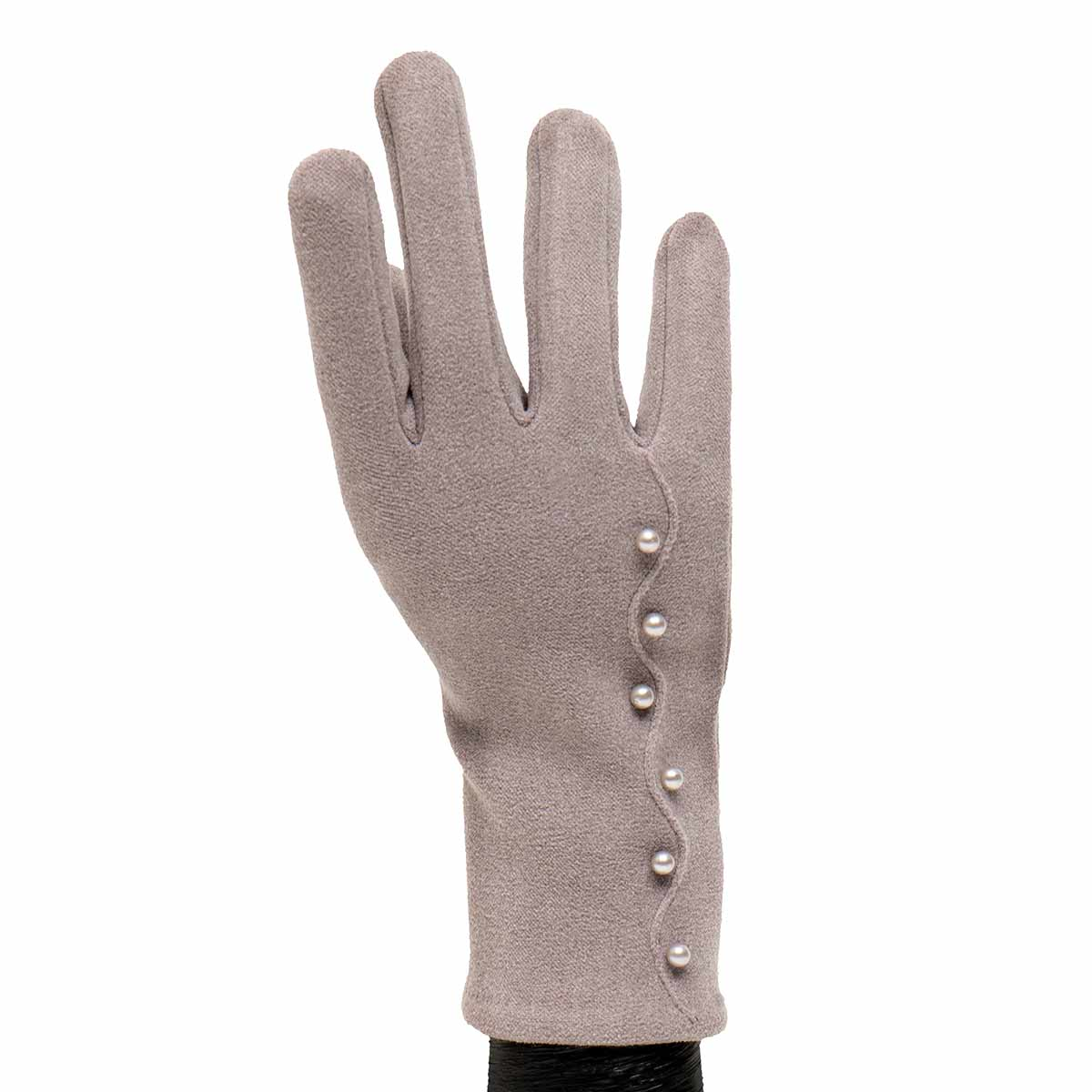 Grey Gloves with Pearls