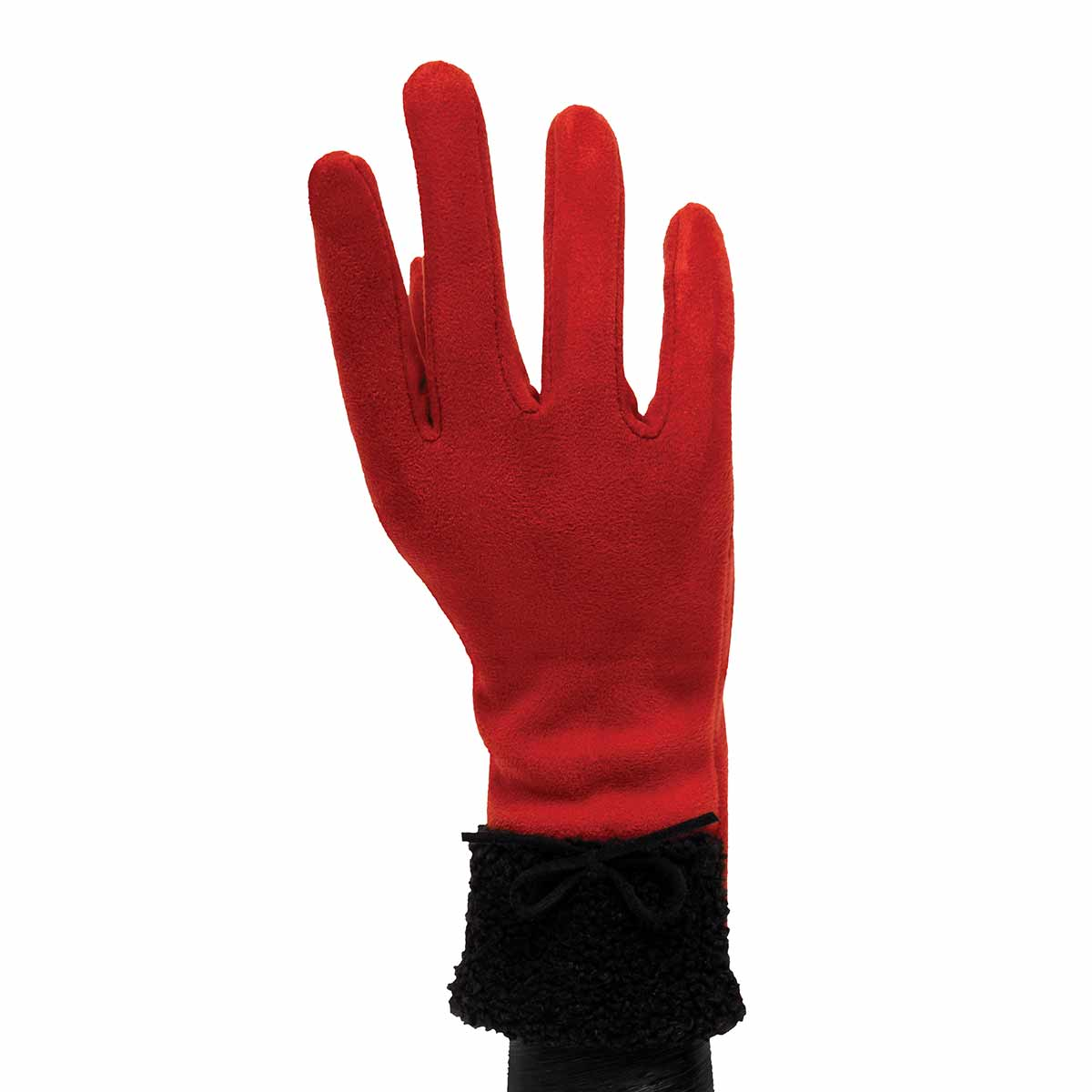 Red Gloves with Fur Cuff and Bow
