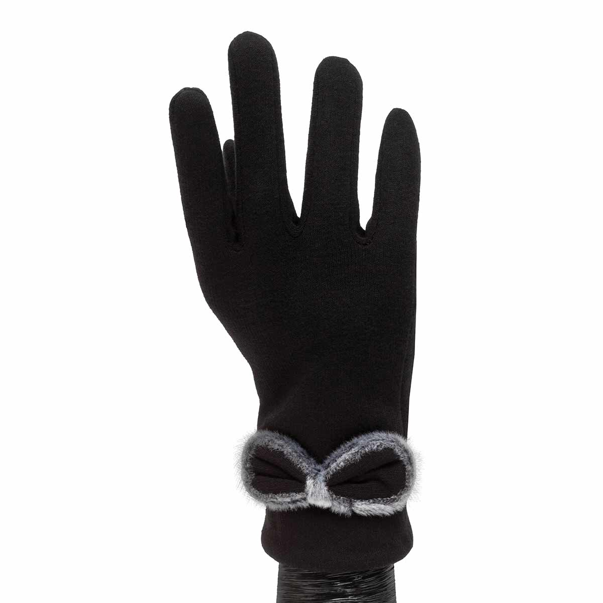 Black Gloves with Black and Grey Bow