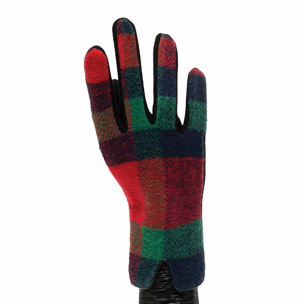 Red, Black and Green Plaid Gloves