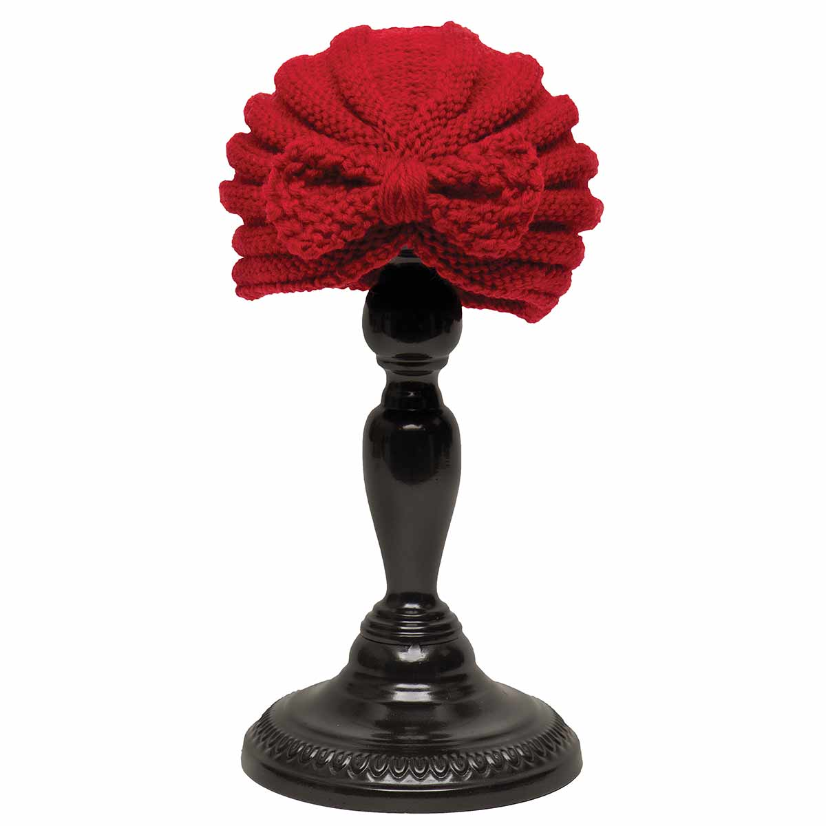 Red Knit Cloche Hat with Bow